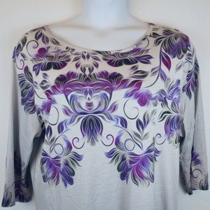 Simply Aster by Firmiana Tunic Floral 3/4 Sleeves